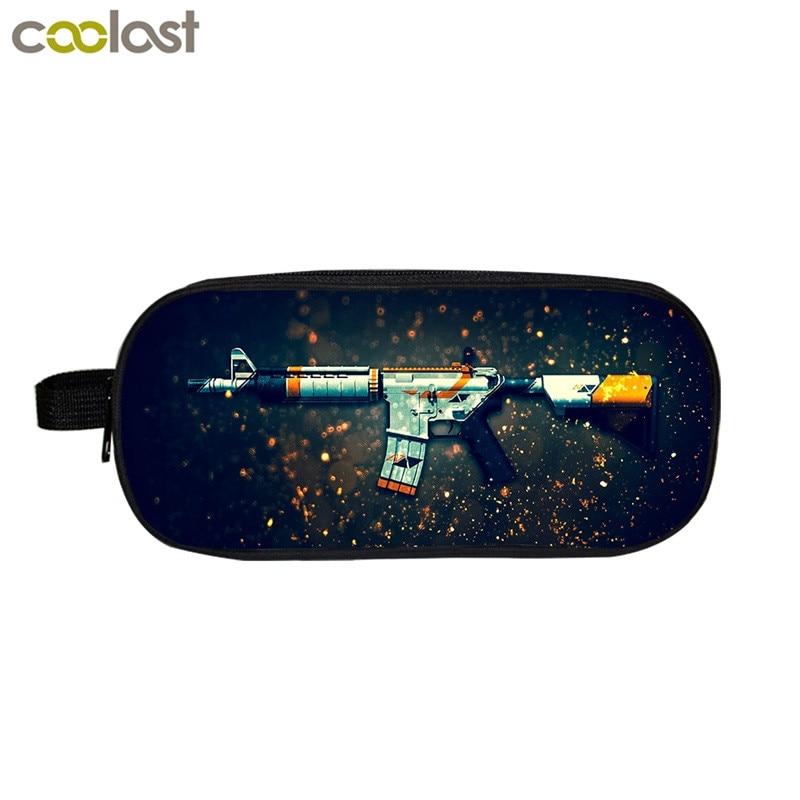 Cool Gun Pattern Pencil Holder Girls School Case Submachine Gun Print Functional Bag Women Make up