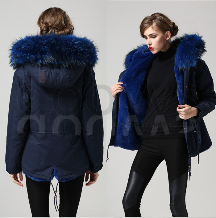 blue warm winter Mrs fur coat parka with big real raccoon fur ...