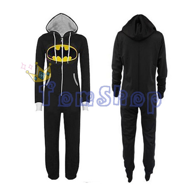 Superhero Men's Women's Unisex Comic BATMAN Jumpsuit Onesie Loungewear Hooded Zip All In One Piece Playsuit Pajamas