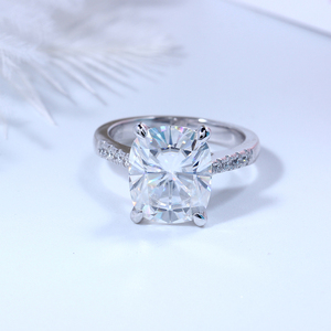 Image 4 - Transgems Big Stone 14K 585 White Gold 5ct Carat 9X11 Cushion Cut FG Color Moissanite Engagement Ring for Women Wedding Gift