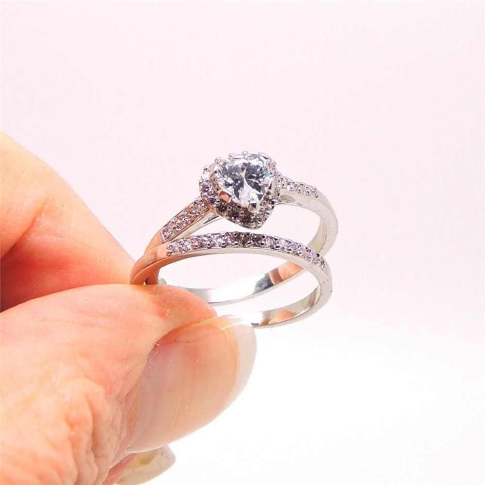 Vecalonหัวใจคนรักแหวนแต่งงานแหวนชุดสำหรับผู้หญิง1ct AAAAAเพทายCz 10KT WHITE Gold Filledหญิงพรรคแหวน