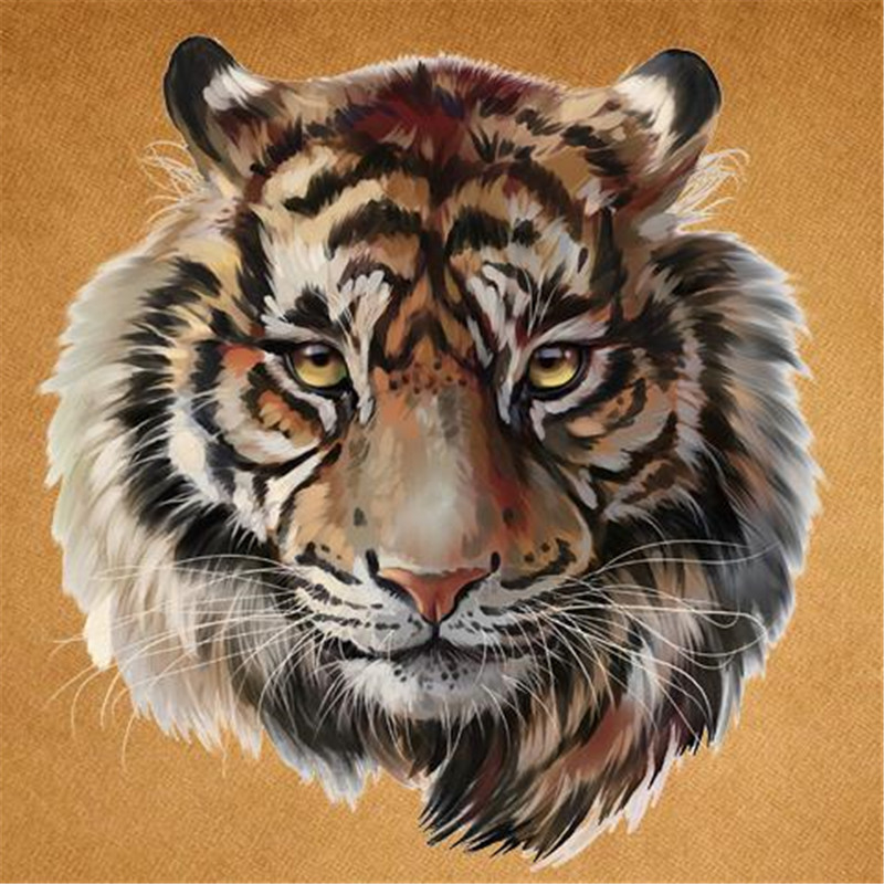 T shirt Women patch 21cm animal iron on patches for clothing transfer printing clothes for girls fashion Diy tiger head stickers