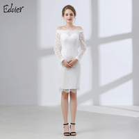 White Short Lace Wedding Dress 2018 Sheath Boat Neck Long Sleeve Knee Length Plus Size Wedding