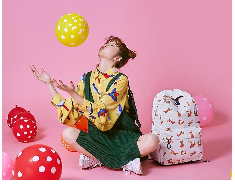 WINNER Cute Animal Fox Printing School Backpacks Waterproof Women Bag Laptop Backpack Female Mochila Bolsas E Sacolas (20)