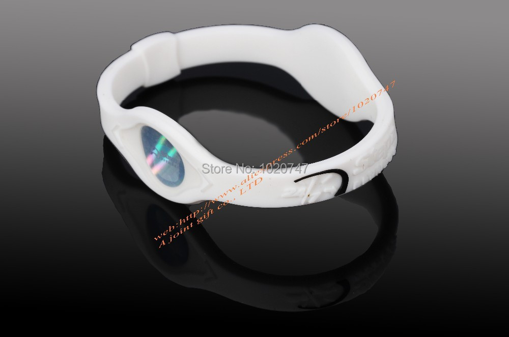 Energy Power Hologramme couleur blanc Bracelets Bracelets Équilibre Ion Magnetic Therapy Mode Silicone Bandes