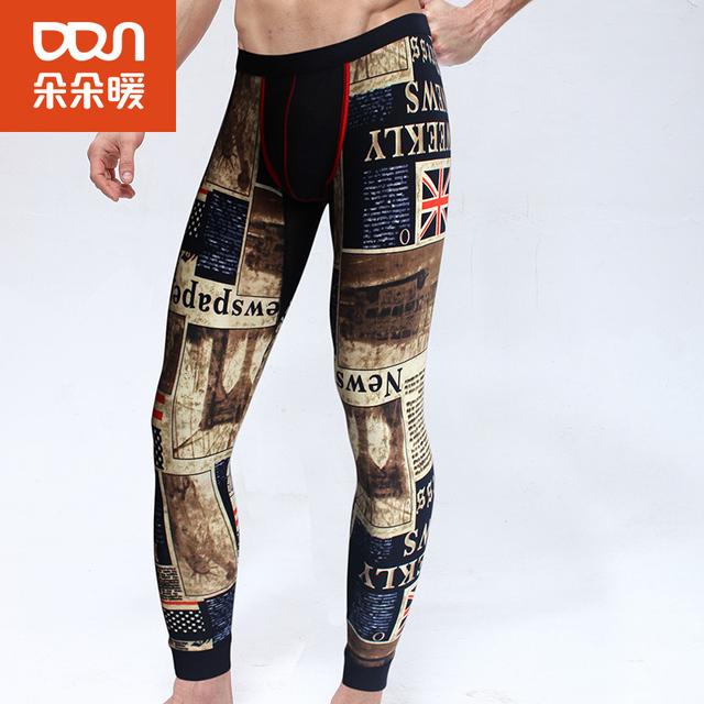 Tendência da moda Dos Homens U Convexo Modal Low-Cintura Fina Magro Calças Quentes Longas Leggings Calças De Compressão Homens Calças de Camuflagem para Os Homens