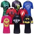 Do sexo feminino Casual Camisa T Mulheres Super-heróis Superman/Capitão América/Spiderman/Batman Camisas Musculação Topos De Compressão