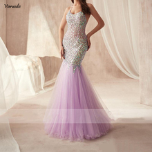 2019 Luxury Crystals Mermaid Prom Dresses Custom Floor Length Backless Evening Gowns Purple Organza Spaghetti Plus Size