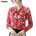 2017 Spring and Summer New Bow Tie Women's Chiffon Shirt Fashion Casual Floral Long-sleeved Wild Loose Tattoo Was Thin Shirt