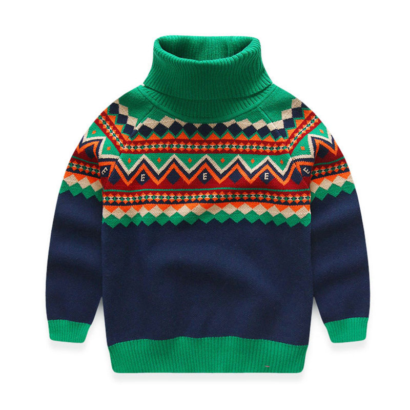2018 Cold Winter Warm 3-12 Years Old Teenage Christmas Gift Thickening High Neck Knitted Baby Kids Turtleneck Sweater For Boy high neck button embellished knitted sweater