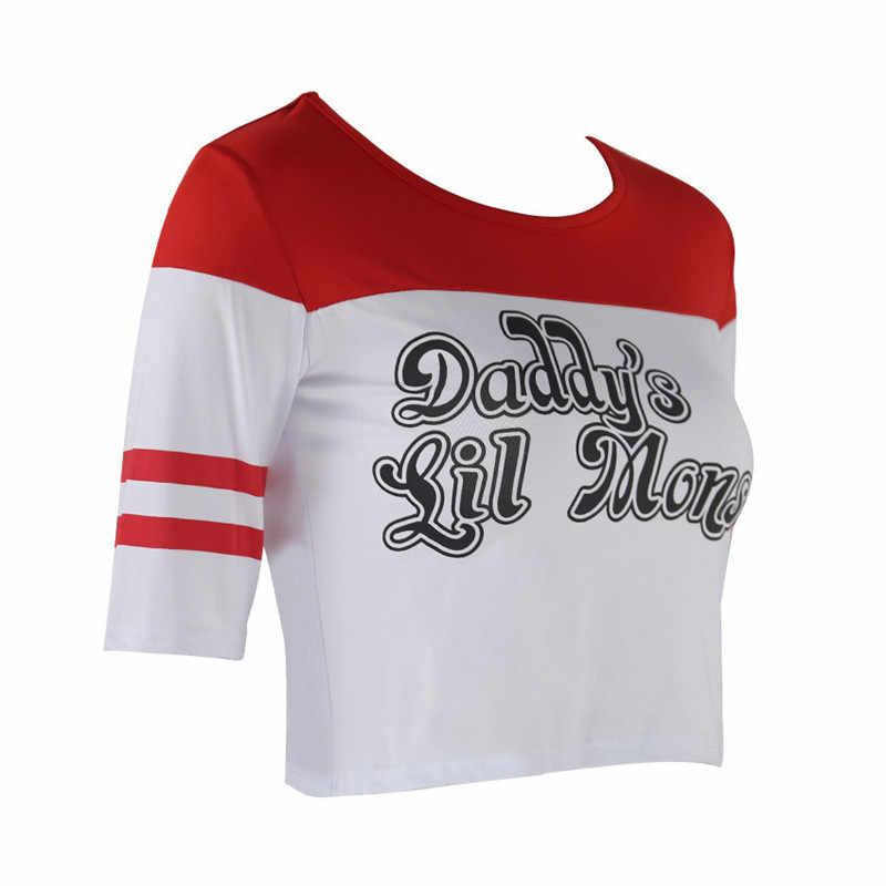 Костюм для косплея «Отряд Самоубийц» футболка «Харли Куинн», шорты «Бэтмен», «Джокер», «папа», «Монстр», «Клоун», с длинными рукавами для девочек