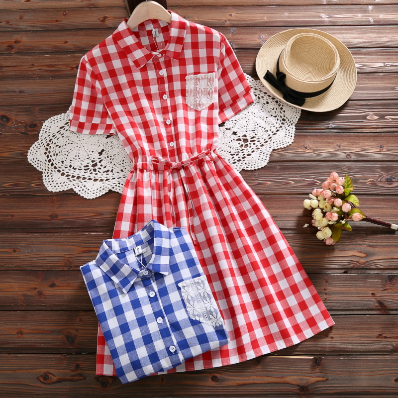 Mori Girl Summer Dress 2018 New Fashion Women Short Sleeve Plaid Cotton Dresses Red Blue ...