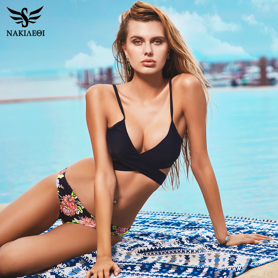 d190e31ea89 NAKIAEOI 2019 Sexy Criss Cross Bikini Brazilian Bandage Swimsuit Women Push  Up Swimwear Bikini Set Wrap Top Bathing Suit Biquini