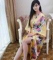 Top Selling Summer Women Kimono Long Robe Gold Faux Silk Bath Gown Yukata Nightgown Sleepwear Pijama Mujer One Size Msf003