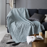 Modern Solid Blue Throw Blanket Cotton Pink Knitted Sofa Blanket Throw Gray T Shape Chunky Blanket Cover Travel/Air Home Textile