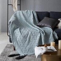 Modern katı mavi atmak battaniye pamuk pembe örme kanepe battaniyesi atmak gri T şekli tıknaz battaniye kapak seyahat/ev tekstil