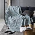 Moderne Feste Blaue Decke Baumwolle Rosa Gestrickte Sofa Decke Werfen Grau T Form Chunky Decke Abdeckung Reise/Air home Textil-in Decken aus Heim und Garten bei
