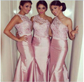 Newest One Shoulder Beaded Pink Lace Taffeta Mermaid Bridesmaid Dresses Party Gowns Custom Made Size 4 6 8 10 12 14 16 18++ B40