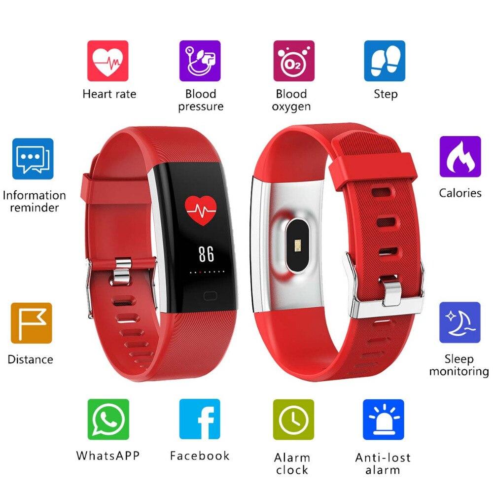 Écran couleur Bracelet sport intelligent Bracelet fréquence cardiaque pression artérielle oxygène Fitness Tracker pour Samsung Galaxy S9 Plus S8 Plus