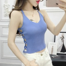 Ladies Sexy V-Neck Sleeveless Tops Women Casual Cropped Top Pullover Knitted Hollow Out Cross Strap Slim Tank