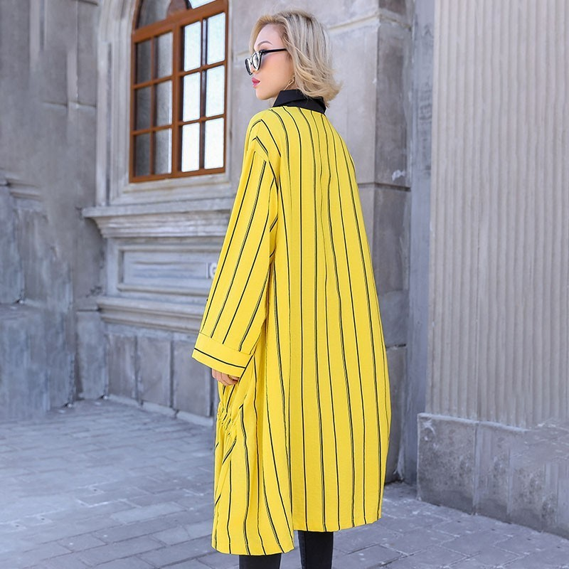 Style Women's Long Spring Loose Sleeve Split Fashion Striped Joint Dress yellow Lapel 2019 Black New Shirt qSdfSE