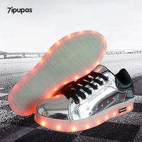 2017 New Usb Charge Led Shoes Men Lovers 20 Styles Unisex Casual Luminous Shoes Silver Black