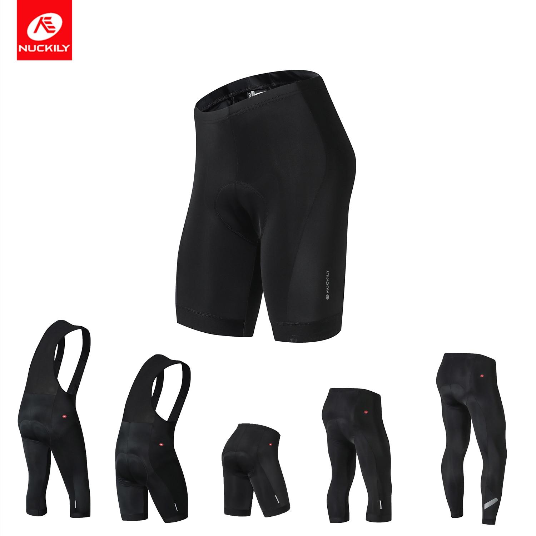цена на NUCKILY Men Cycling Tights Long Pants Gel Pad Road Bike Shorts BIB Shorts Summer Bicycle 3/4 Pants Bibs