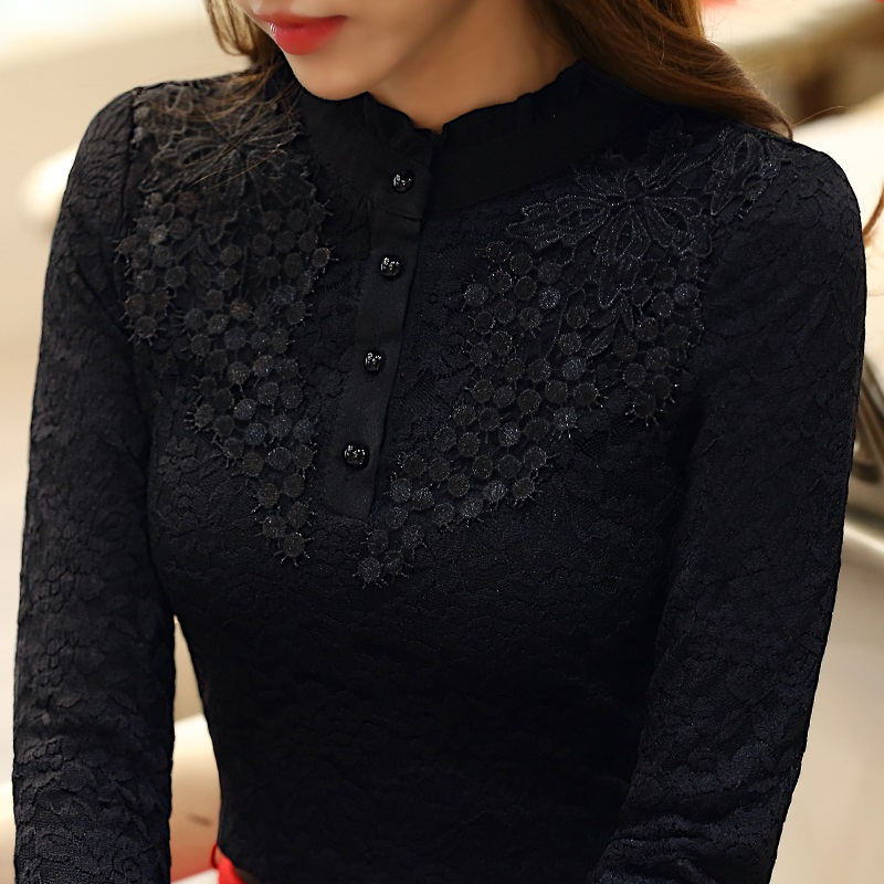 Autumn Winter Fleece Women Lace Blouse Elegant Lace Embroidery Stand Collar Slim Tops Shirt Women Plus Size S-3XL blusas T51251