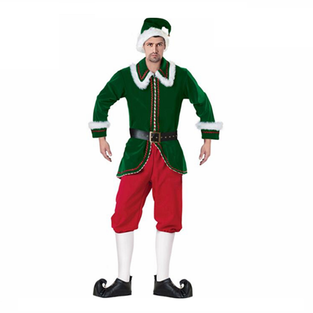 New Arrival Deluxe Men's Santa Claus Elf Christmas Costume