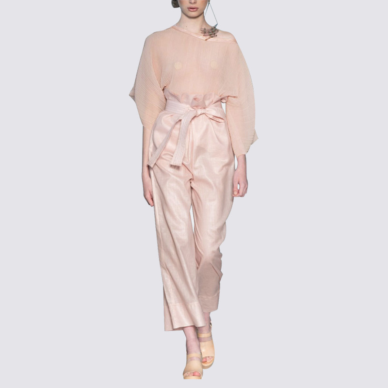 European American Women High Street Women Pink Linen Twin Set Batwing Sleeve Blouse Drawstring Pants Casual Loose 2 Pieces Set