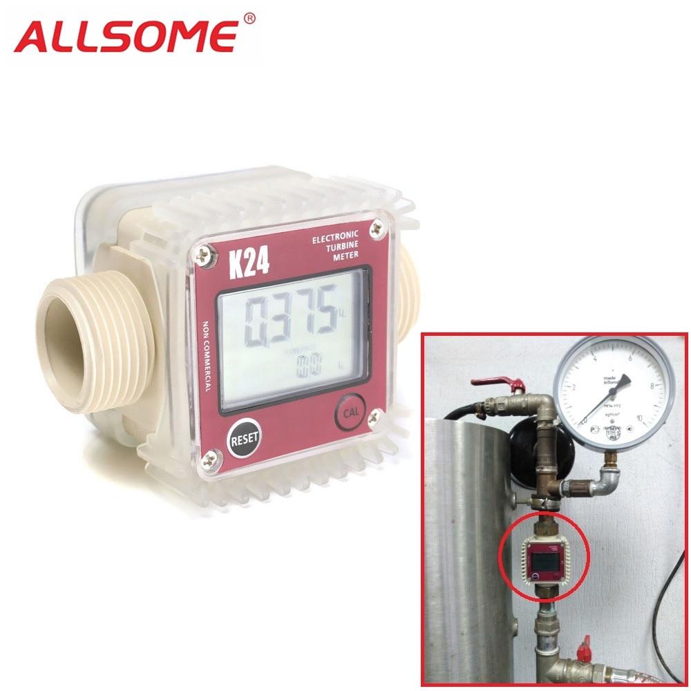 ALLSOME Digital LCD K24 Flow Meter Turbine Diesel Fuel Flow Tester for Chemicals Water Sea Liquid Flow Meters Measuring Tools