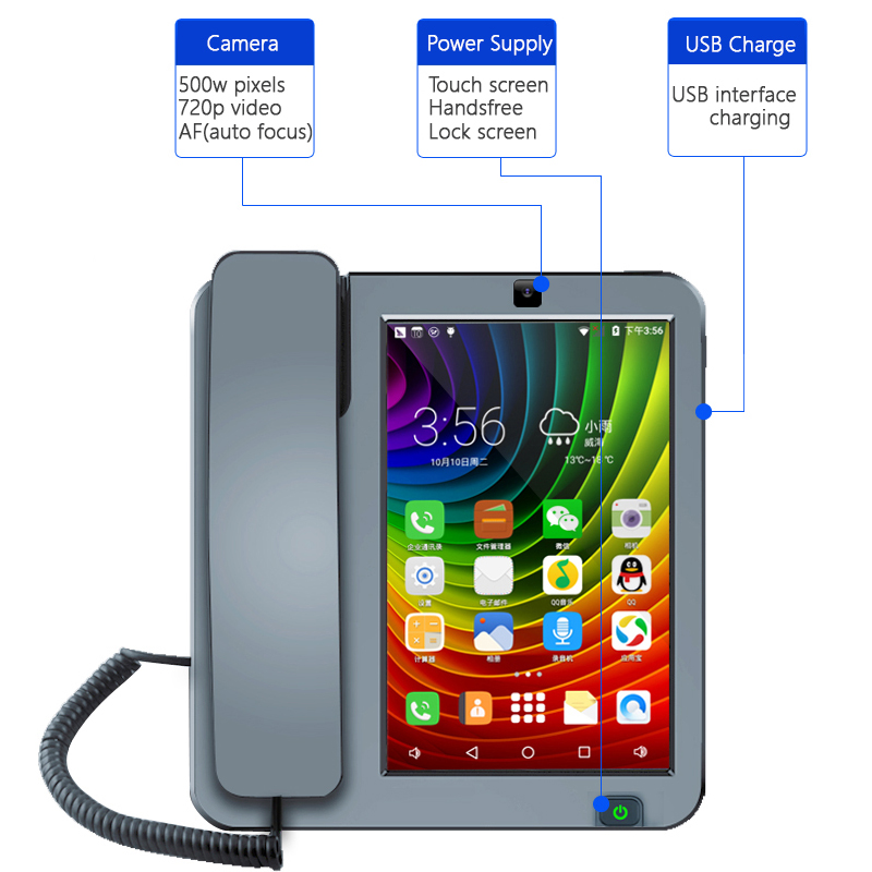 Bluetooth Andrews Smart Network Video Fixed Telephone With Call ID SMS WIFI Address Book For Home