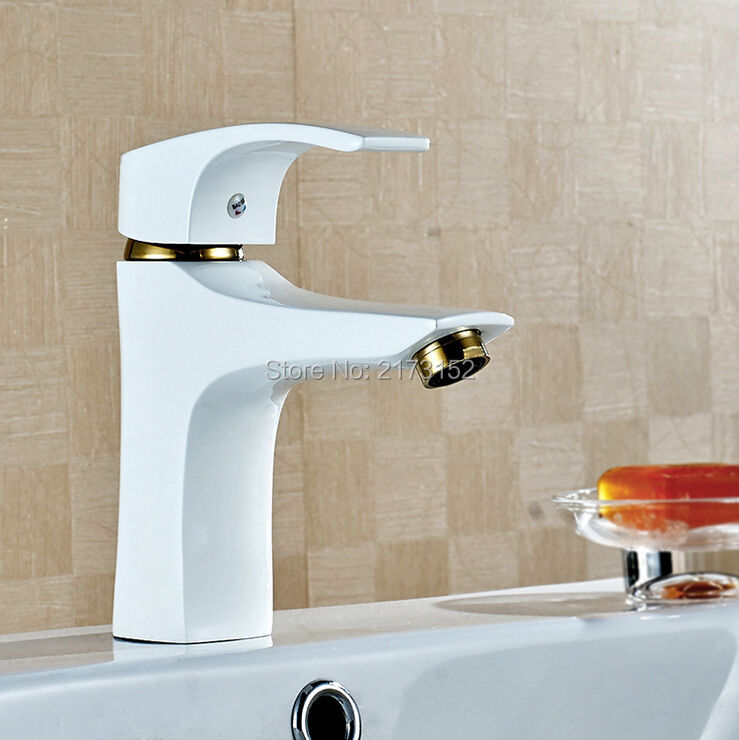 Free Shipping Deck Mounted Grilled White Painted Bathroom Faucet Square Spray Brass Basin Sink Mixer Tap W-019 1 piece free shipping anodizing aluminium amplifiers black wall mounted distribution case 80x234x250mm