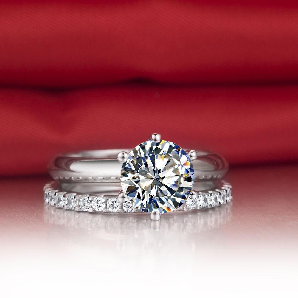 Valentine Gift Solid 18K 750 White Gold Ring Set 1Ct Fine Diamond