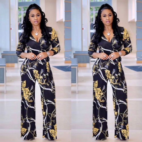 Womens Long Sleeve Clubwear Playsuit Floral Party   Jumpsuit   Chiffon Long   Jumpsuits