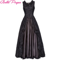 Belle Poque 2018 Medieval Long Dress Black Lace Satin Sleeveless Maxi Dresses Gowns Victorian Gothic Vintage Evening Party Dress