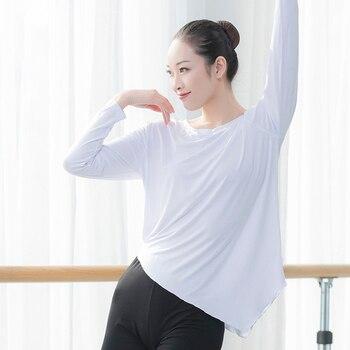 Women dance T shirt asymmetric long sleeve for dancing modal lyrical tops ballerina wear