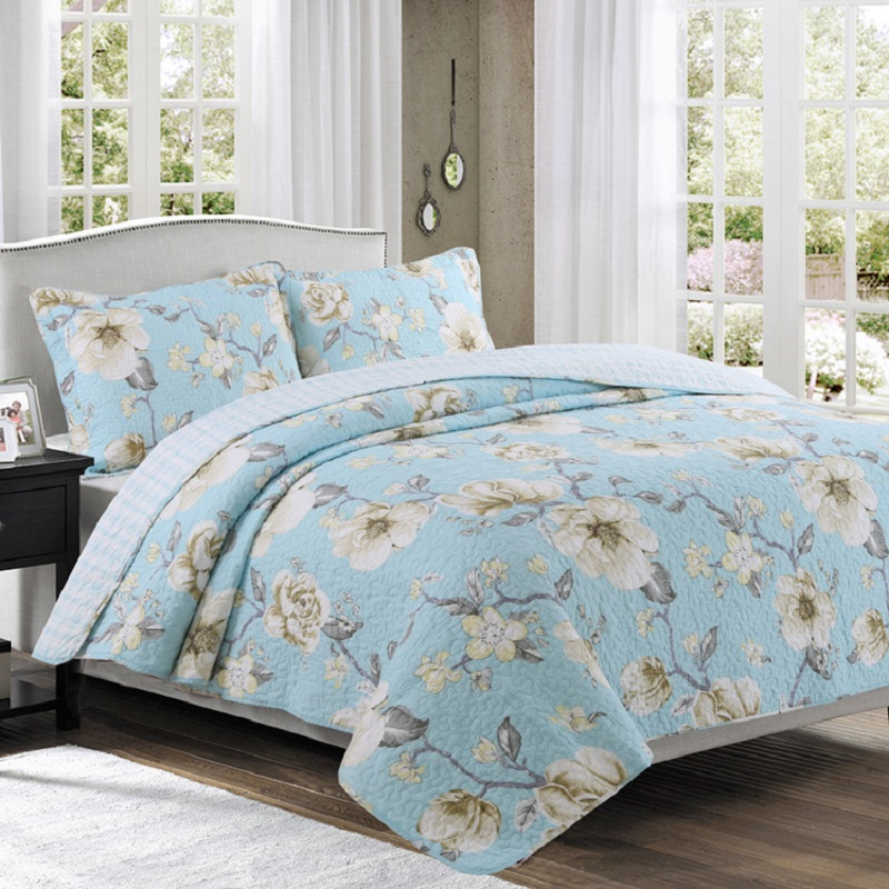 CHAUSUB Washed Cotton Quilt Set 3PCS Simple Printed Quilts Quilted BedSpread*1 Pillowcase*2 Bed Covers Sheets King Size CoverletCHAUSUB Washed Cotton Quilt Set 3PCS Simple Printed Quilts Quilted BedSpread*1 Pillowcase*2 Bed Covers Sheets King Size Coverlet