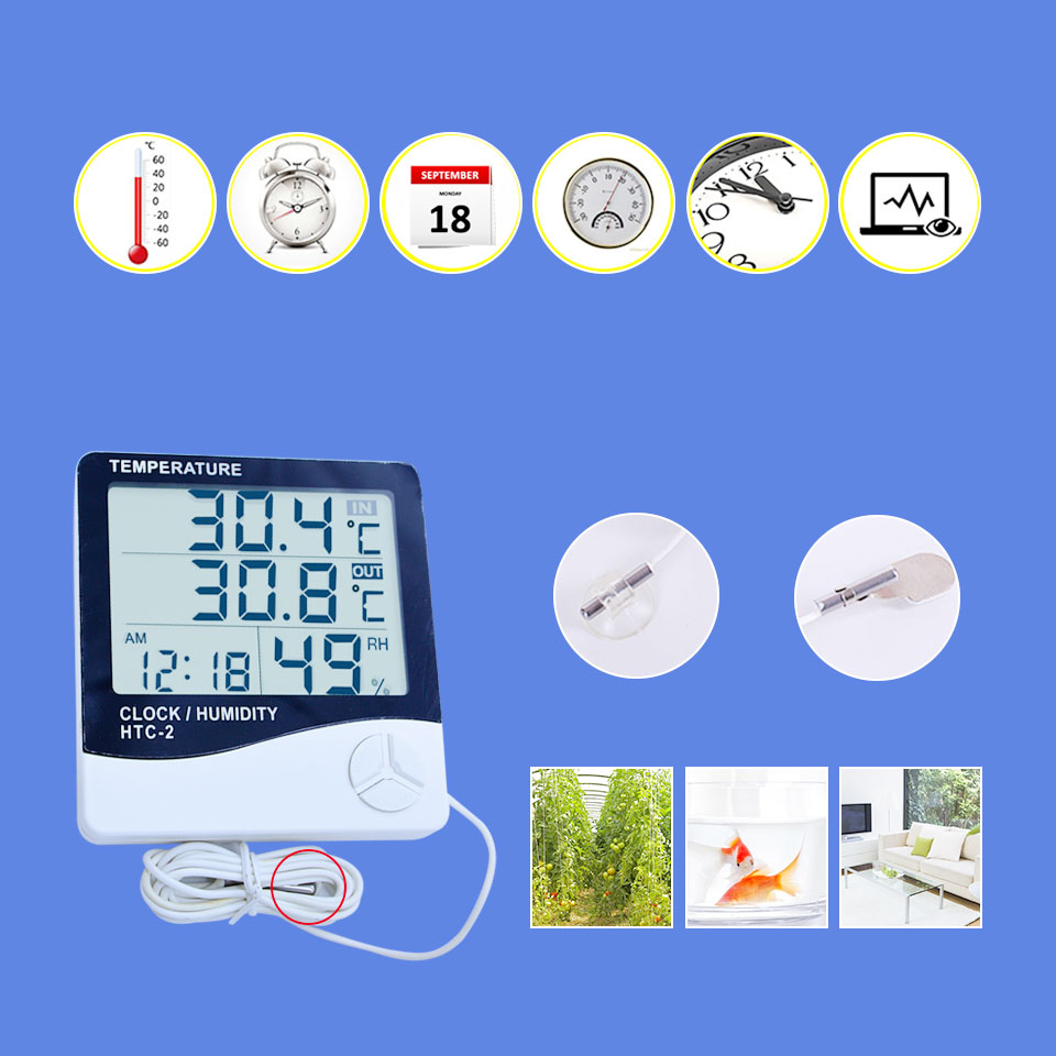 Htc 2 Digital Lcd Thermometer Hygrometer Electronic Temperature Multifunction And With Clock Alarm Combination Built In Calendar Interchangeable Displays
