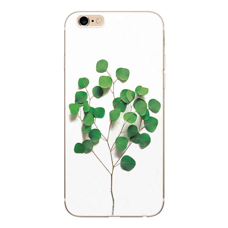 Flor Borda Completa Proteção Case Para iPhone 5 8 7 6 6 S 5S SE Telefone Casos Voltar Tampa Transparente para iPhone 5 5S SE 6 7 6 S