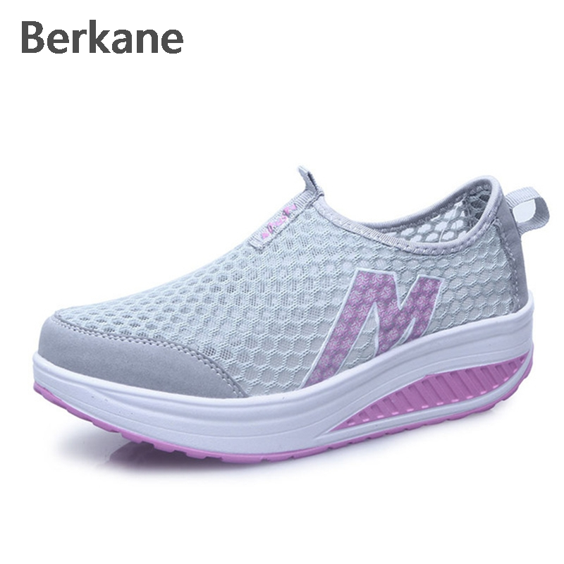 Shake Mesh Shoes Women 2017 Summer Ultralight Breathable Elevator Shoes Wedges Female Casual Shoes Zapatillas Deportivas Mujer free shipping 2017 summer style women casual shoes women s swing shoes breathable gauze platform shoes single elevator shoes