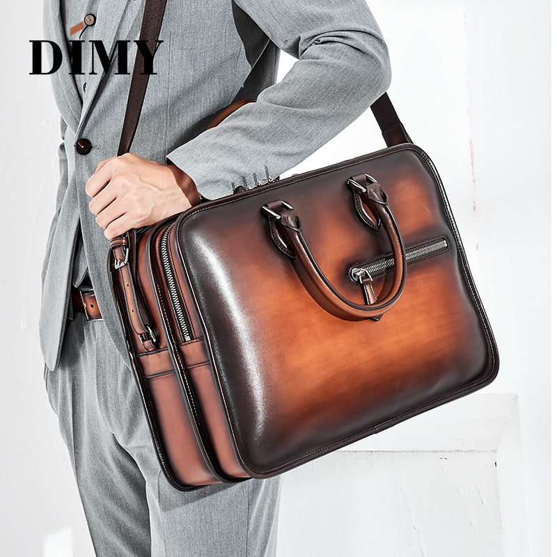 DIMY Hand Patina Leather Men's Briefcases Dutch Calfskin Handbag Business Bags Double Zipper Messenger Bag For Male Gentleman