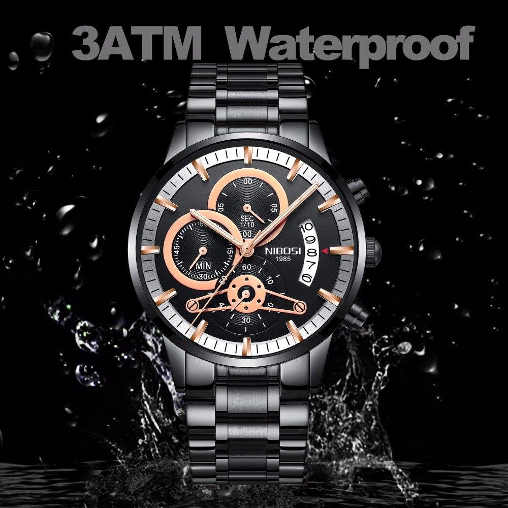 цена на Men Watches Luxury Top Brand Men gold Watch Relogio Masculino Military Army Analog Quartz Wristwatch black NIBOSI