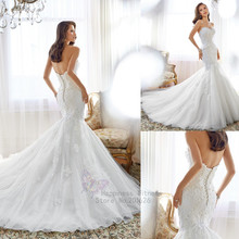 New Lace Mermaid Wedding Dresses Sweetheart with Crystals on Body Vestidos De Noiva Romantic Court Train Dress 2015
