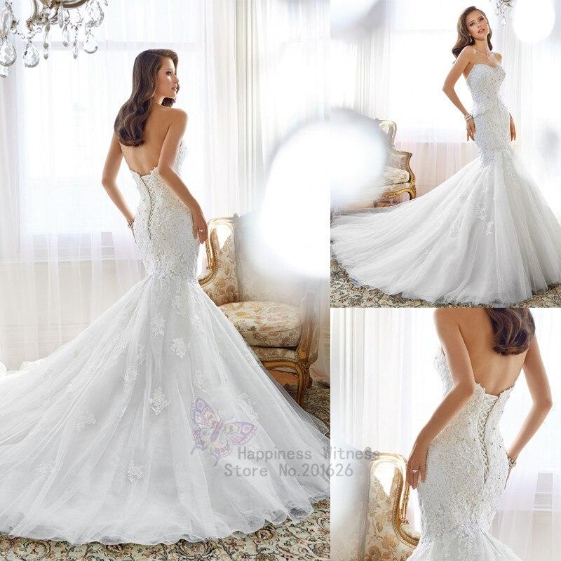 Nouvelle dentelle sirène robes De mariée chérie avec des cristaux sur le corps Vestidos De Noiva romantique Court Train dentelle robe De mariée 2018