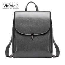 Подлинная кожаный чехол рюкзак женщины путешествия back pack коровьей большой мешок школы для подростков опрятный стиль ноутбук bagpack mochila