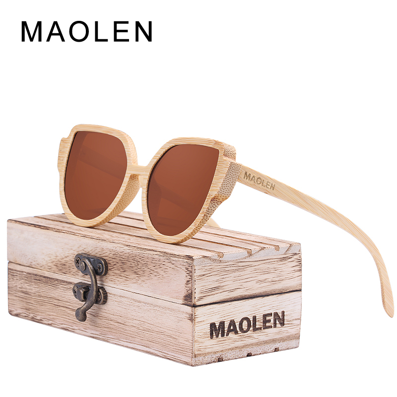 MAOLEN Wood Sunglasses women Bamboo frame Sun Glasses Polarized ...