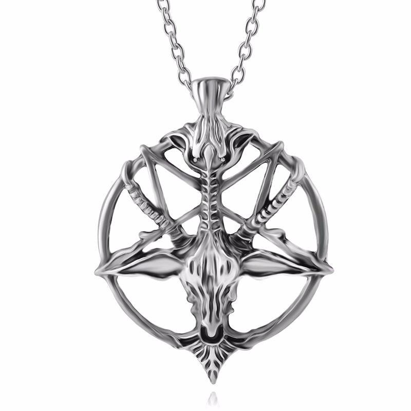 Fashion pan god skull head necklace goat head pendant necklace vintage star statement necklace jewelry for men women Wholesale