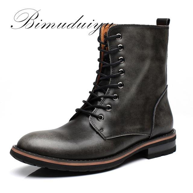 AutumnWinter BIMUDUIYU Nova Chegada de Moda Artesanal de Super Quentes Homens Sapatos Casuais Estilo Britânico Ankle Boots Limpar Botas cor de Neve