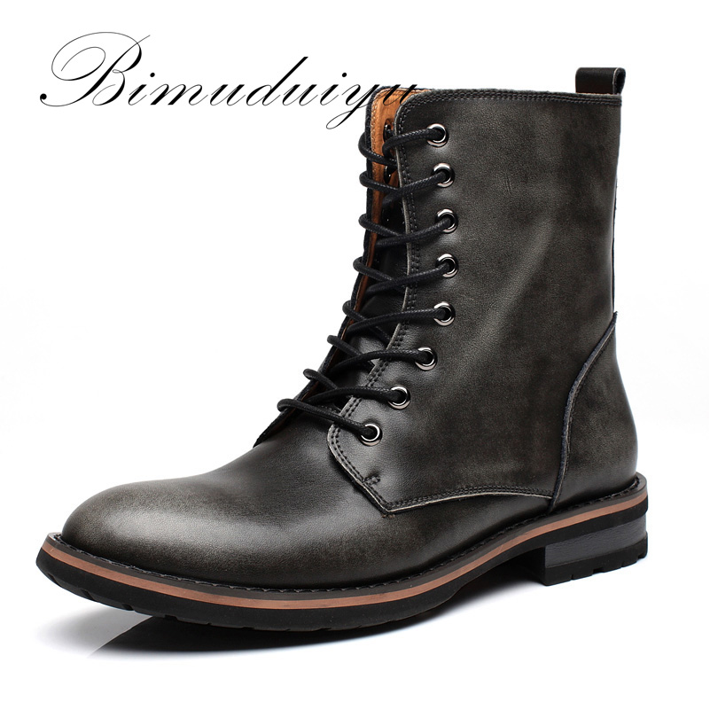 BIMUDUIYU New Arrival Fashion Handmade Super Warm AutumnWinter Men Shoes Casual British Style Ankle Boots Wipe